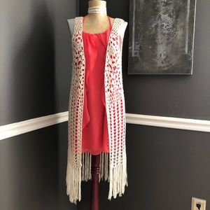Umgee Long fringed crocheted duster size M